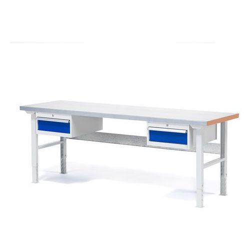 Stół warsztatowy solid, zestaw z 2 szufladami, 750 kg, 2000x800 mm, stal marki Aj produkty