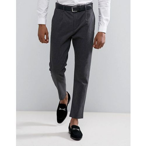 tapered fit trouser with pleat detail - grey, Selected homme