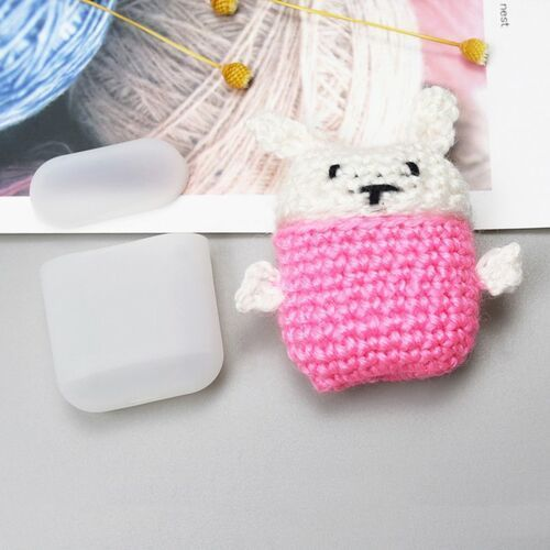 Hurtel Silikonowe etui pudełeczko case na słuchawki airpods 2gen / 1gen z wełnianą nakładką króliczek - 6 (7426825374578)