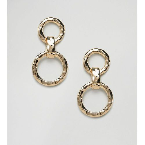 Designb london gold interlinked hoop drop earrings - gold
