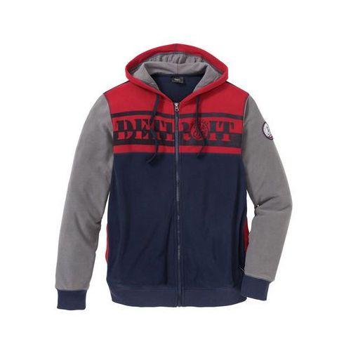 Bluza rozpinana z polaru z kapturem Regular Fit bonprix ciemnoniebiesko-dymny szary - ciemnoczerwony