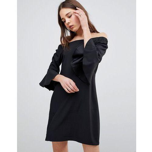 Glamorous Flare Sleeve Bardot Dress - Black, kolor zielony