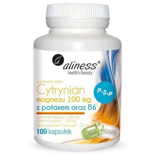 Cytrynian Magnezu 100 mg z potasem 150 mg, B6 (P-5-P) x 100 kaps. vege Aliness (5902596935726)