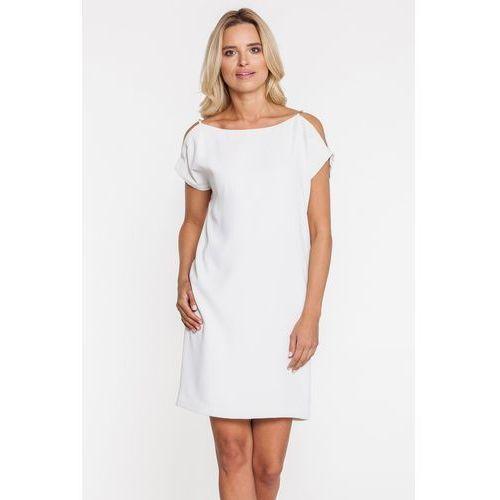 Biała sukienka z wyciętymi ramionami - Bialcon