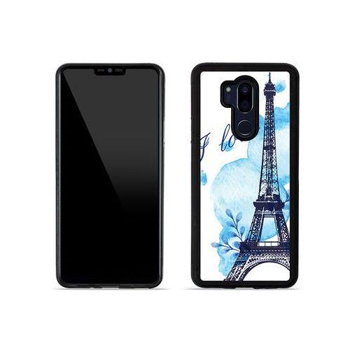LG G7 ThinQ - etui na telefon Aluminum Fantastic - niebieska wieża eiffla, kolor niebieski