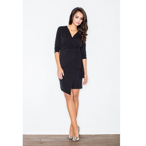 Czarna Elegancka Sukienka z Wiązaniem, 1 rozmiar