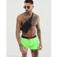 logo swim shorts with contrast waistband in neon green - green marki Diesel