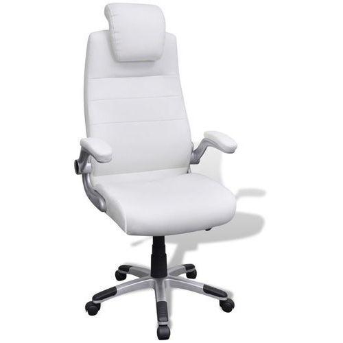 vidaXL Biały regulowany fotel obrotowy ze skóry syntetycznej (8718475898184)