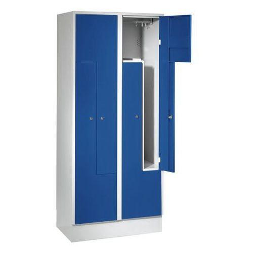 Szafka ze stali, szafka do przebieralni, 4 przedziały, drzwi niebieskie gencjano marki Eugen wolf