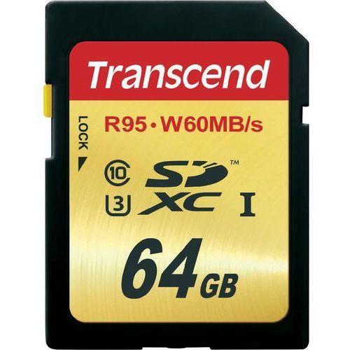 Karta pamięci sdxc  ts64gsdu3, 64 gb, class 10, uhs-i, uhs-class 3, 95 mb/s / 60 mb/s marki Transcend