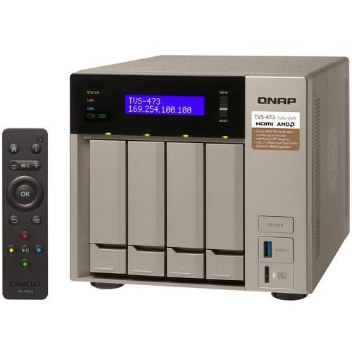 QNAP TVS-473-64G - AMD RX-421BD / 64 GB / 2 x HDMI / 4 x Gigabit LAN / 4-dyskowy, TVS-473-64G