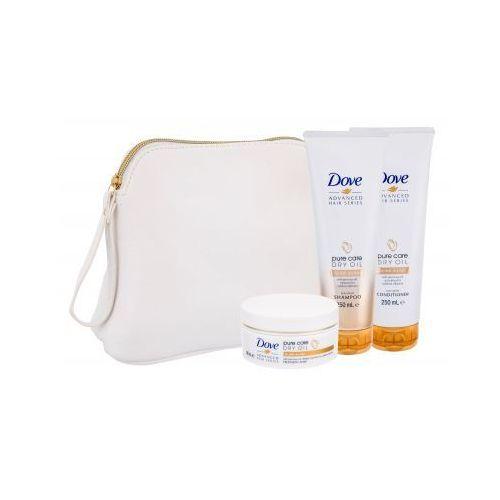Dove advanced hair series pure care dry oil zestaw szampon 250 ml + odżywka 250 ml + maska 200 ml + kosmetyczka dla kobiet (8710908398360)