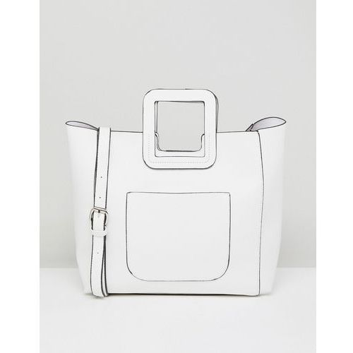 tote bag with structured handle and detachable across body strap - white marki French connection