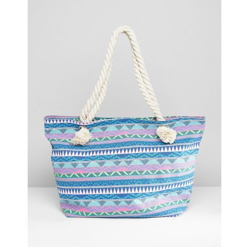 South beach blue geo print canvas tote with knotted rope handles - multi