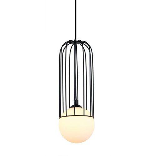 LAMPA wisząca SIMON MDM-3938/1 BK Italux druciana OPRAWA metalowa ZWIS szklana kula ball klatka matty loft czarna