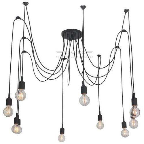 Light prestige Lampa wisząca soleto lp-90082/10p metalowa oprawa industrialny zwis kable spider pająk czarny
