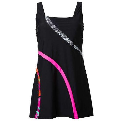 Sukienka kąpielowa wyszczuplająca bonprix czarny w paski, w 6 rozmiarach