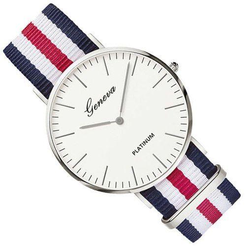 Zegarek damski męski nylon granat i czerwień i - granat i czerwień i marki Geneva