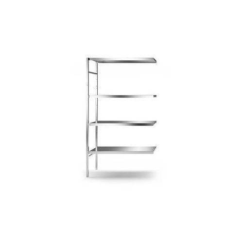 Regał wtykowy ze stali szlachetnej, 4 gładkie półki,szer. półki x gł. 940 x 440 mm