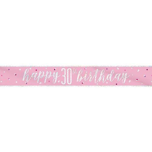 Baner Happy Birthday różowy na 30 urodziny - 274 cm - 1 szt. (0011179834938)