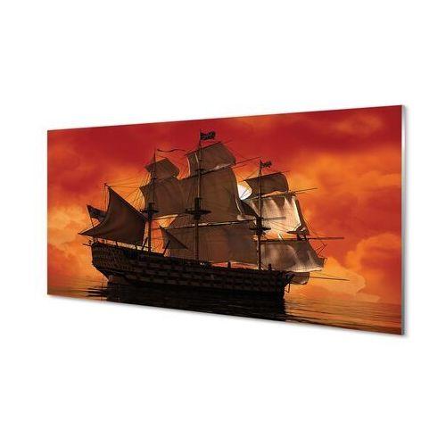 Obrazy na szkle Statek pomarańczowe niebo morze