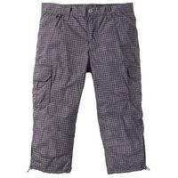 Spodnie bojówki 3/4 loose fit szary w kratę marki Bonprix