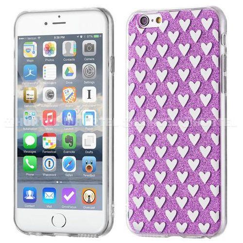 żelowy pokrowiec shiny case brokat iphone se 5s 5 serca fioletowy - fioletowy wyprodukowany przez Wozinsky