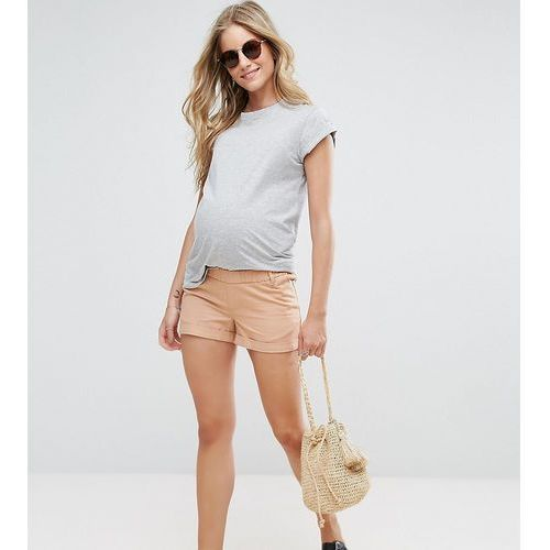 petite chino short with under the bump waistband - pink marki Asos maternity