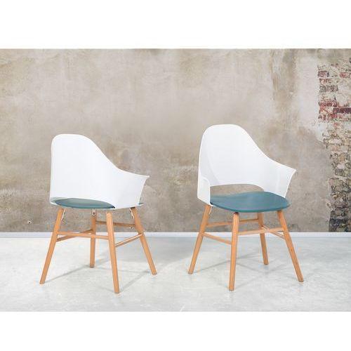 Krzesło niebiesko-białe - Krzesło do jadalni, do salonu - krzesło kubełkowe - BOSTON (7081454429725)