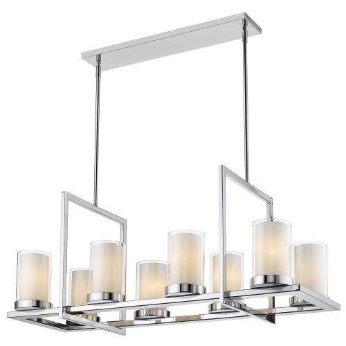 LAMPA wisząca EVO P08018CH metalowa OPRAWA prostokątny ZWIS szklane tuby chrom biały przezroczysty