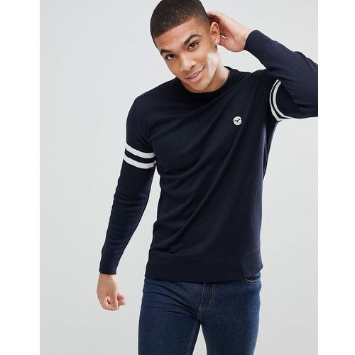 Le breve lightweight knitted jumper with arm stripe - navy