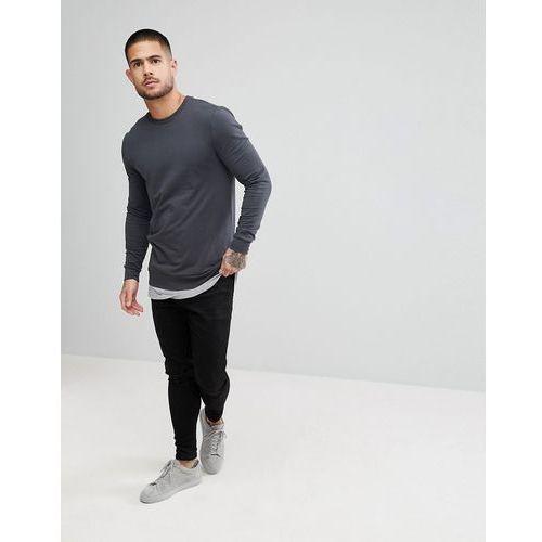 ASOS Muscle Sweatshirt With Hem Extender In Washed Black And Grey - Black, kolor czarny