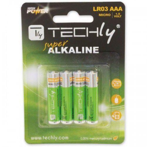 Techly Baterie alkaliczne 1.5V AAA LR03, 4 sztuki (307001) Darmowy odbiór w 21 miastach! (8057685307001)