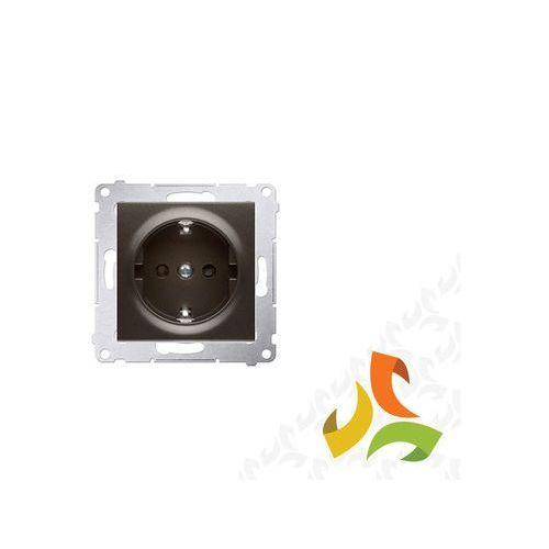 Gniazdo schuko z przesłonami 16a, 250v~, szybkozłącza, brąz mat dgsz1cz.01/46 simon 54 premium marki Simon kontakt