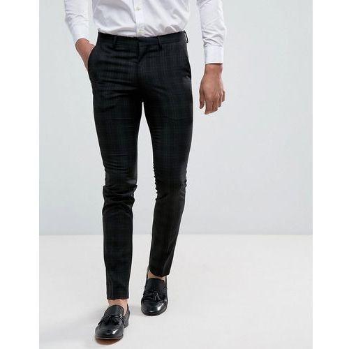 skinny fit smart trousers in black check - black marki New look