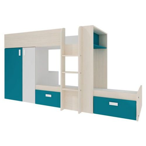 Vente-unique Łóżko piętrowe julien – 2 × 90 × 190 cm – szafa – kolor sosna biała i niebieski