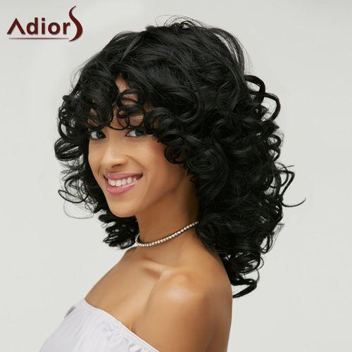 Shaggy Curly Capless Medium Heat Resistant Fiber Wig z kategorii Treski i peruki