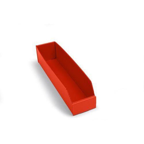 Skrzynki regałowe z tworzywa, składane, dł. x szer. x wys. 450x100x100 mm, czerw marki K bins limited