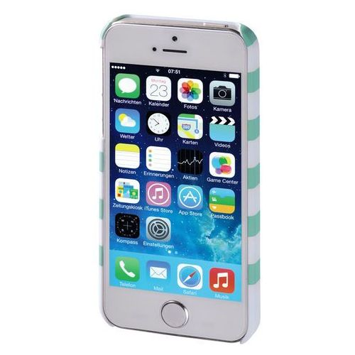 Hama Etui design line iphone 5 paski miętowo - biały (4047443285997)