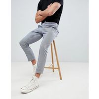 New Look skinny cropped herringbone trousers in grey - Black
