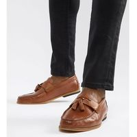 wide fit leather loafers with tassels in tan - tan, River island