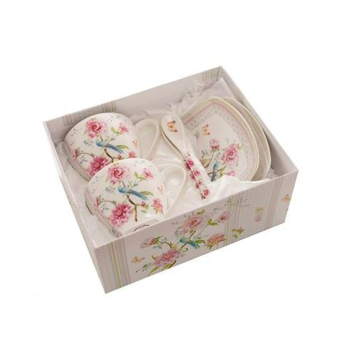 2 filiżanki ptak prezent z łyżeczkami porcelanowe marki Queen isabell