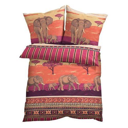 Bonprix Pościel z nadrukiem w słonie rubinowy