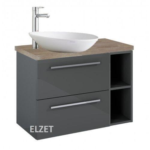 ELITA szafka Kwadro Plus 2S anthracite pod umywalkę nablatową + moduł otwarty + blat 80 dąb classic 166770.166775.166872