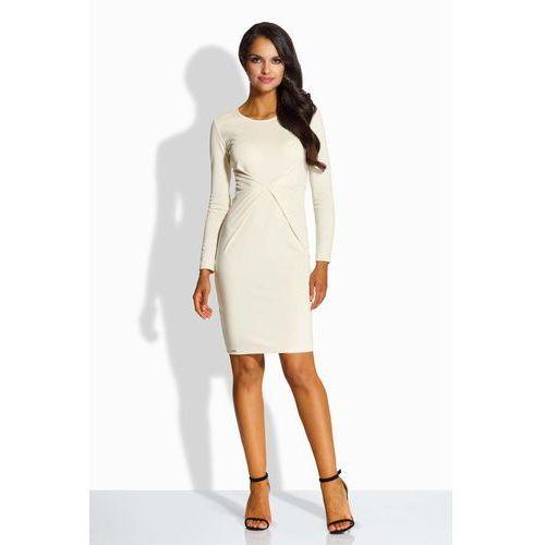 56ea52a691 Beżowa Sukienka Ołówkowa z Dekoracyjnym Drapowaniem