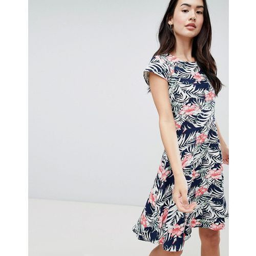 floral skater dress with cap sleeves - navy, Qed london, 38-42