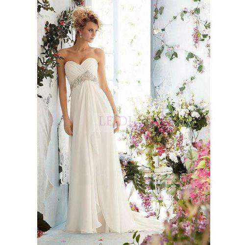 Lejdi Ślubna suknia z marszczonym biustem i perłami