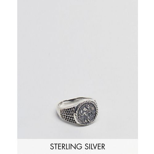 ASOS DESIGN Sterling Silver Sovereign Ring With St Christopher - Silver
