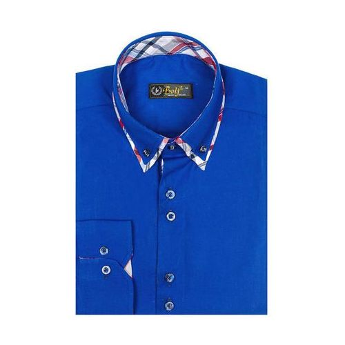 Koszula męska elegancka z długim rękawem niebieska 4704-1, Bolf