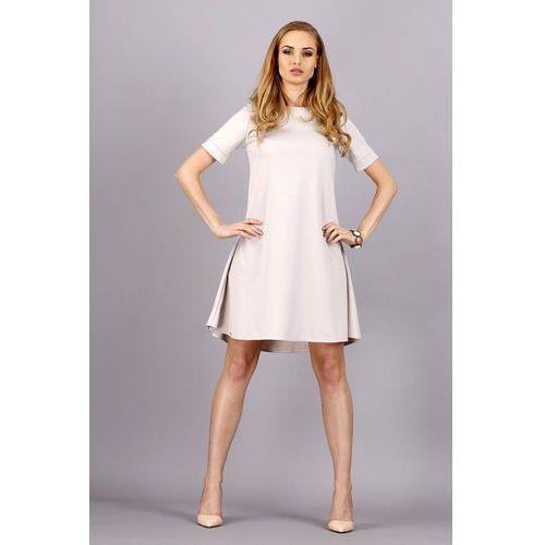 Beżowa Trapezowa Wygodna Sukienka z Krótkim Rękawem, ST-DM36cr